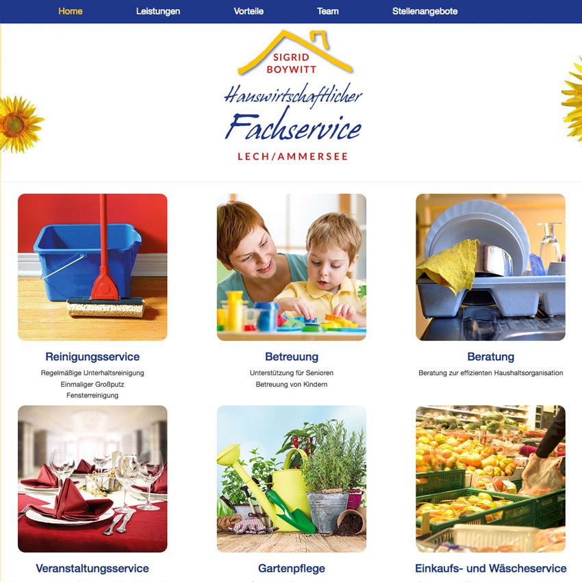 Internetseite Hauswirtschaftlicher Fachservice Ammersee