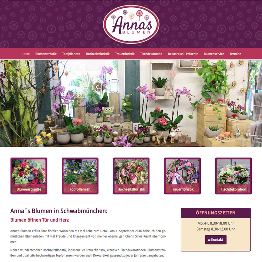 Internetseite Blumenladen Schwabmünchen