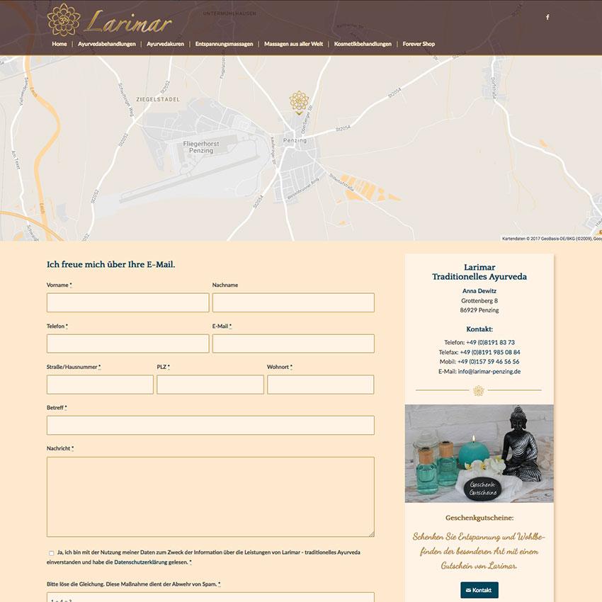 Internetseite mit Google Map und Kontaktformular