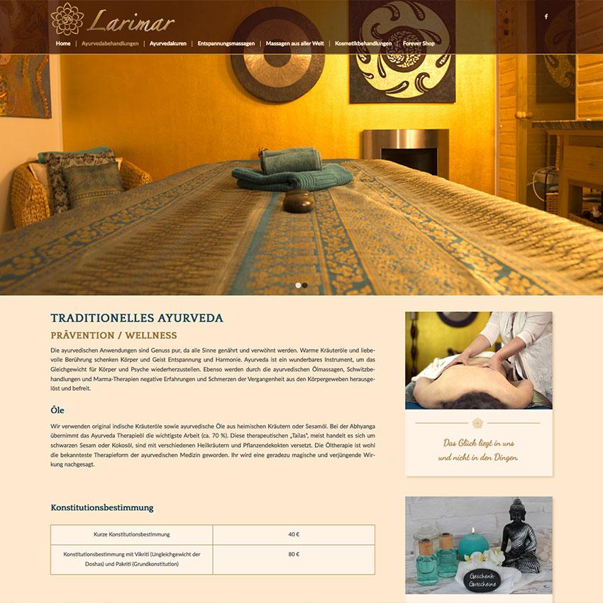 Gestaltung Internetseite Larimar Ayruveda