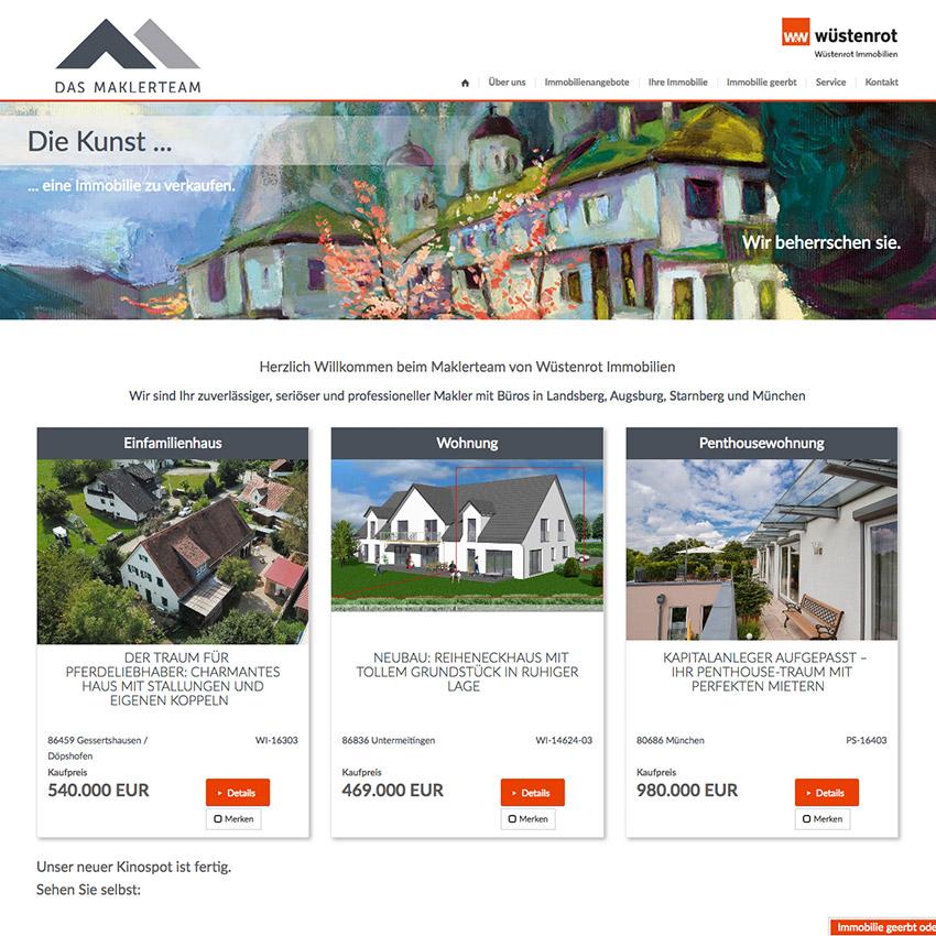 Internetseite für Immobilienmakler Landsberg