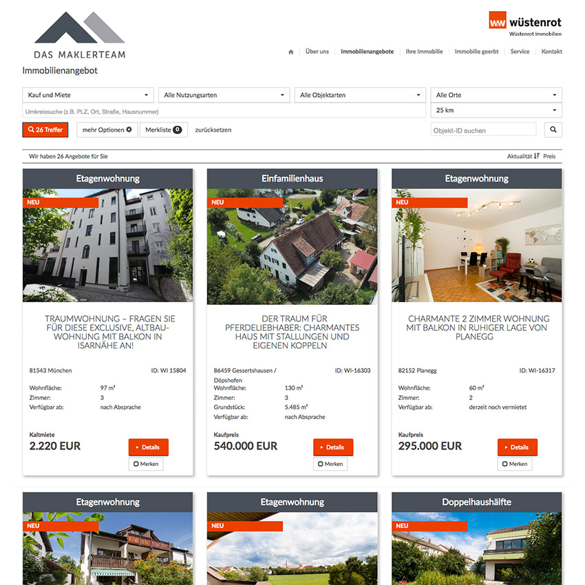 Homepage Immobiliensuche
