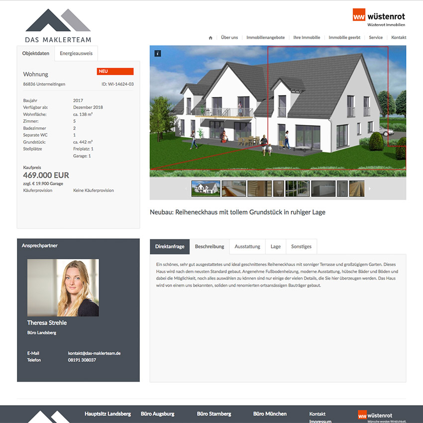 Internetseite Immoblien Design
